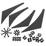 X AUTOHAUX 4pcs Black Exterior Front Bumper Lip Splitter Fins Spoiler Trim Universal with Hole ABS for Car Truck SUV