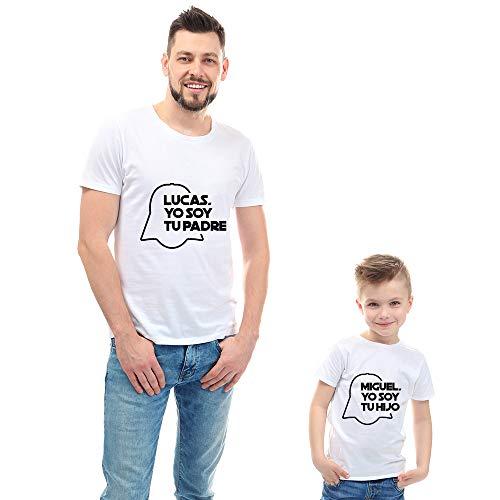 Calledelregalo Regalo Personalizable para Padres e Hijos: Pack de Dos Camisetas 'Yo Soy tu Padre' Personalizadas con Sus Nombres