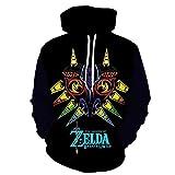 Sudaderas Hombres con Capucha,Hombre 3D Anime The Legend of Zelda: Majora'S Mask Sudadera con Capucha Pullover Suéter De Calle De Gran Tamaño Casual Fashion Black S