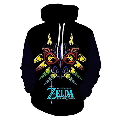 Kapuzenpullover Herren,Herren 3D Anime The Legend of Zelda: Majora's Mask Hoodie Pullover Street Pullover Oversized Casual Fashion Black Xs