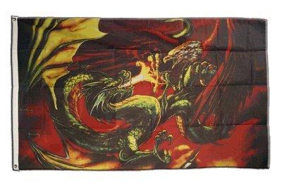 Flagge Drache gegen Adler - 90 x 150 cm