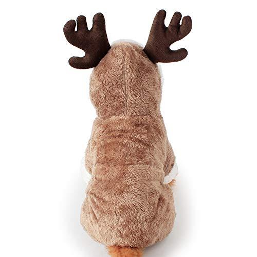 Esoes - Costume natalizio da renna per cane e gatto, divertente costume da renna per cosplay di animali domestici, abbigliamento invernale caldo con cappuccio