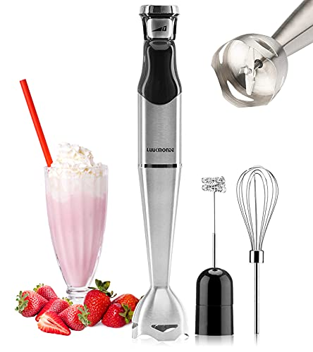 Luukmonde Hand Immersion Blender, 3-in-1 500W Handheld Stick Mixer with Stepless Speed, Includes Stainless Steel Baby Food Blender, Milk Frother and Whisk Egg, BPA-Free
