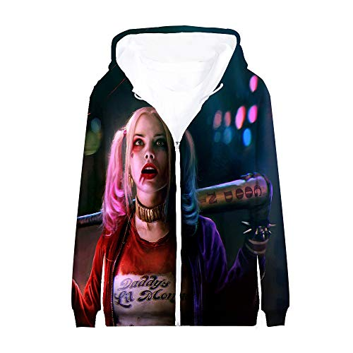 Suicide Squad Sweatshirts Mantel mit Kapuze Eltern-Kind trägt mit Druck Persönlichkeit Reißverschluss-Oberbekleidung Unisex Langarm-Jacke Suicide Squad Mäntel (Color : A03, Size : 155)