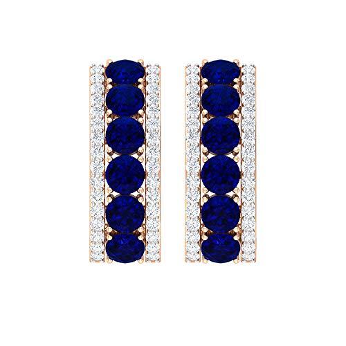 Pendientes de diamantes y zafiros azules de 2,25 quilates para mujer, pendientes de aro de oro en J, clip azul