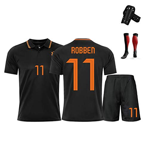 Fußball Sportswear, Robben, 2020 Niederlande Trikots Heimuniform, Memorial Limited Edition T-Shirt, klassisches Fan Trikot-Black-L