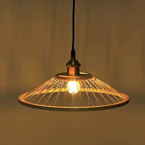 CHENKUI Araña De Luces Moderna Tejida A Mano Lámpara Colgante De Bambú Retro Farm Iluminación De Techo Empotrada Linterna De Cesta Abatible Ajustable para La Decoración De La Isla De Cocina