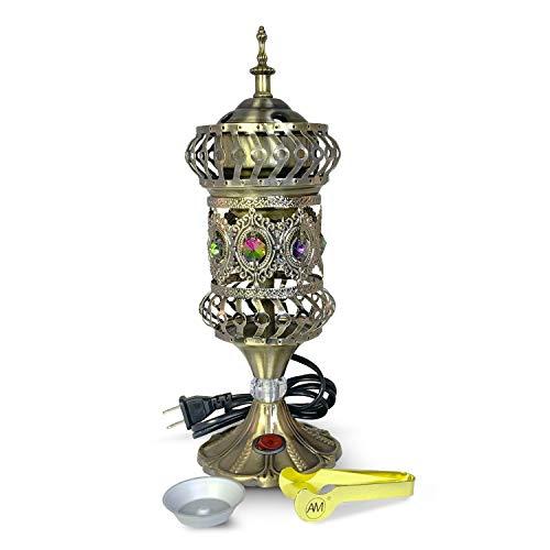 ATTAR MIST Electric Incense Burner - Oud Frankincense Resin Burner - Intricate Carousel Large Mabkhara Bronze