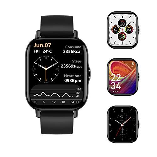 Voigoo Smartwatch,1.78 Zoll Touch-Farbdisplay Fitness Armbanduhr mit Bluetooth-Anruf,Pulsuhren Fitness Schlafmonitor Uhr Wasserdicht IP68 Fitness Tracker Uhr für Damen Herren Smart Watch iOS Android