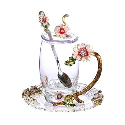 Taza de agua Taza de cristal transparente de esmalte de alto grado Tazas de té de café tazas de tazas rojas de la taza de la taza de calor con la montaña de la cuchara de acero inoxidable envase