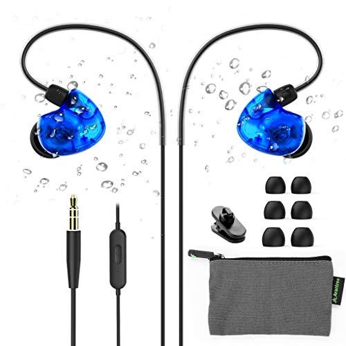 Avantree TR504 IXP5 Schweißresistent Sport Bügel-Kopfhörer mit Mikrofon für Ohren mit Kleinen Ohrkanälen, Laufen Ohrhörer mit Bequemem Über-Ohr-Haken, Kabelgebunden In-Ear Headset mit kabel für Joggen