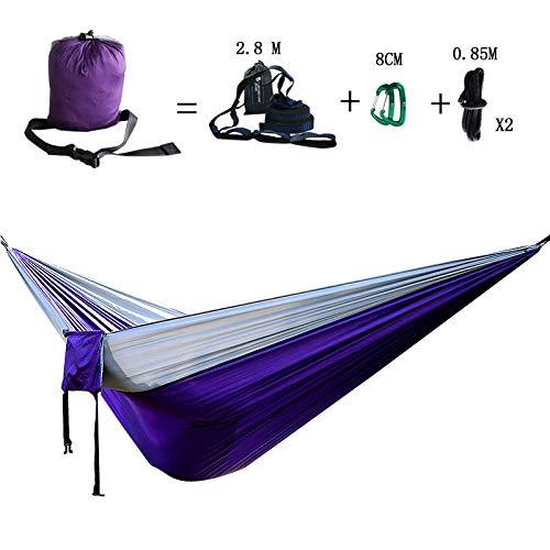 HUOHUO Portable 300 * 200 cm Double Personne Parachute Tissu hamac Camping hamac Jardin balançoire-Violet et Gris