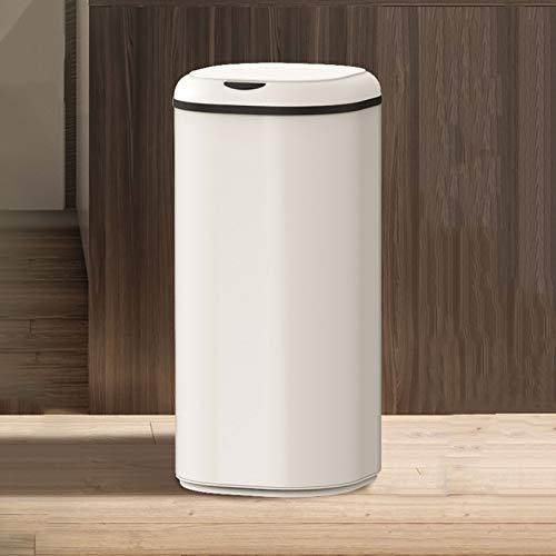 Cubo de Basura Papelera de basura de la cocina de metal sin touchles Redonda de la basura inteligente de la bote de basura doméstica de gran capacidad con la tapa, alimentada por baterías (no incluida