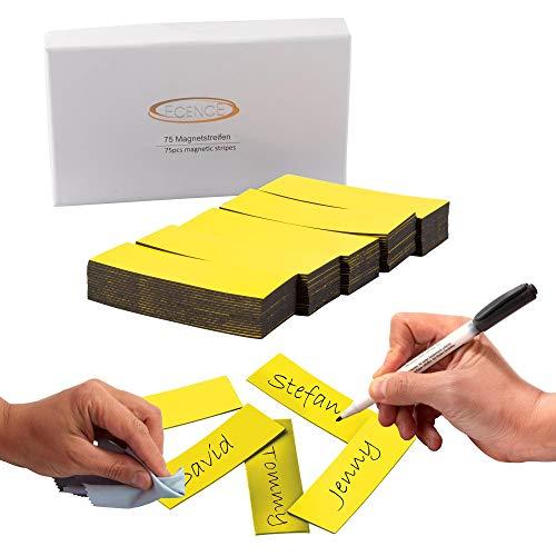 ECENCE 75 Cintas magnéticas reescribibles - 60x20mm Amarillo - Tiras adhesivas recortables - Carteles magnéticos borrables - Etiquetas magnéticas para pizarras blancas, neveras, tableros mag