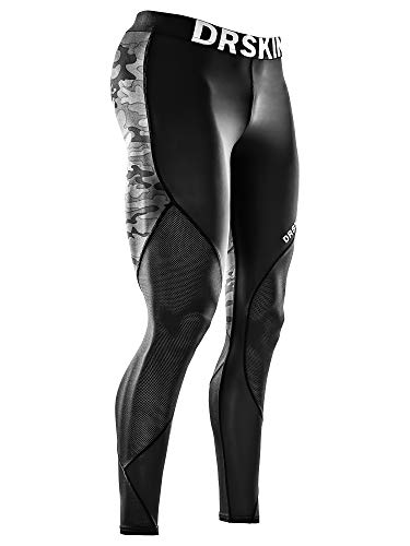 DRSKIN Men's Compression Pants Dry Cool Sports Baselayer Running Workout Active Tights Leggings Yoga (MESH MBB-B02, L)