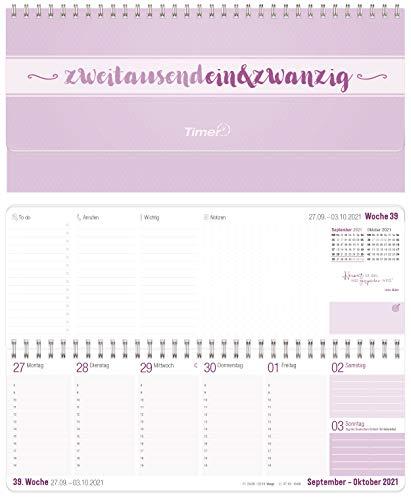 Wochen-Tischkalender 2021 im Quer-Format zum Aufstellen | 1 Woche 2 Seiten | Wochenkalender in Lavendel/Weiß, 29,7 x 10,5 cm | Schreibtisch-Kalender mit Sprüchen | nachhaltig & klimaneutral