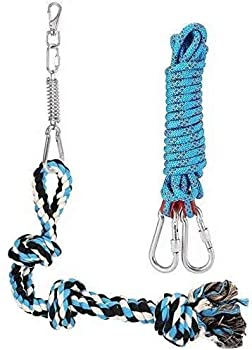 DIBBATU Spring Pole Dog Rope Toys with a Big Spring Pole Kit Strong Dog Rope Toy and a 16ft Rope for Pitbull & Medium to Large Dogs Outdoor Hanging Exercise Rope Pull & Tug of War Toy-Muscle Builder