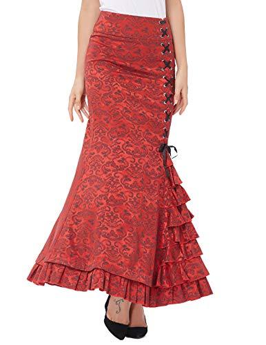 Belle Poque Women Victorian Long Mermaid Fishtail Vintage Skirt Steampunk Corset Dress Size 18 BP0204-2 steampunk buy now online