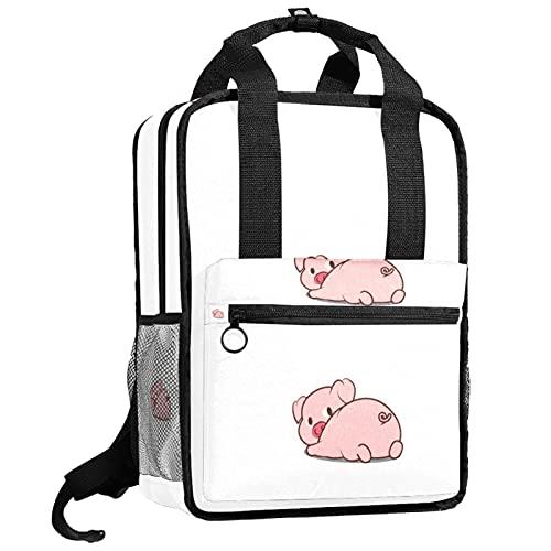 ATOMO Mochila de viaje para escuela, bolsa de trabajo para mujeres y hombres, estudiantes universitarios, lindo cerdo acostado