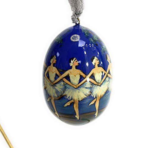 Exclusive Christmas Tree Toy Russian Ballet Carved from Wood and lovingly Painted by Artists from St. Petersburg.Handmade in Russia by RUS Heritage.