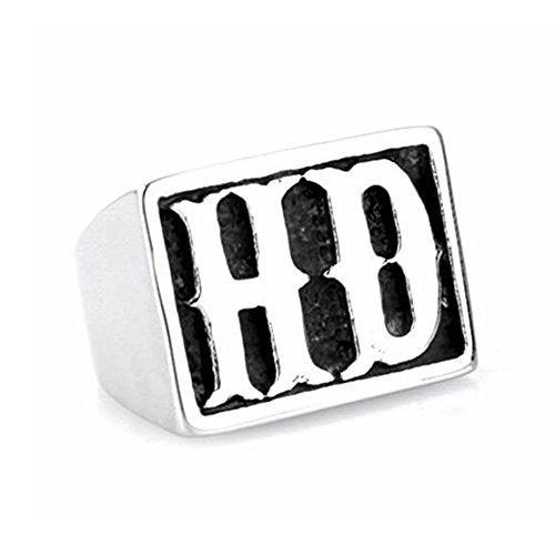LAMUCH Uomo Donna HD titanio anello in acciaio lettere punk rock argento dimensione20