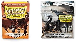 Dragon Shield Matte Copper + Inner Sleeve Sideloader Smoke Standard Size 100 ct Card Sleeves Bundle