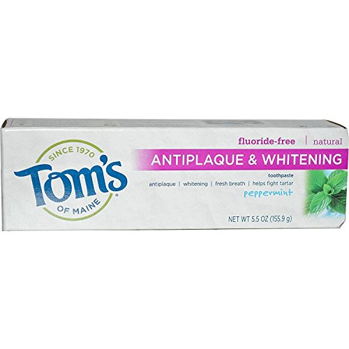 Tom's of Maine Toothpastes Peppermint Fluoride-Free Antiplaque Tartar Control & Whitening 5.5 oz. (a)