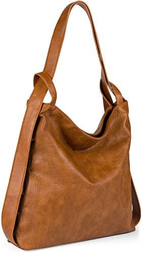 styleBREAKER Damen Rucksackhandtasche aus zweifarbigem Kunstleder, Reißverschluss, Shopper, Schultertasche, Rucksack 02012359, Farbe:Cognac
