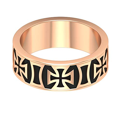 Anillo de boda esmaltado negro, anillo único de aniversario, anillo de compromiso novio, pareja, anillo a juego, anillo vintage unisex, anillos de declaración para mujeres, 14K Oro rosa, Size:EU 53