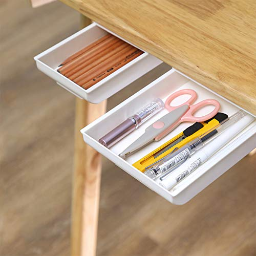 2 PCS Under Desk Drawer Organizer Storage, Self-Stick Pop-up Hanging Pencil Hiding Office Desk Desktop Organizer, Multi Function Paste Stationary Container Pen Organizer for Desk