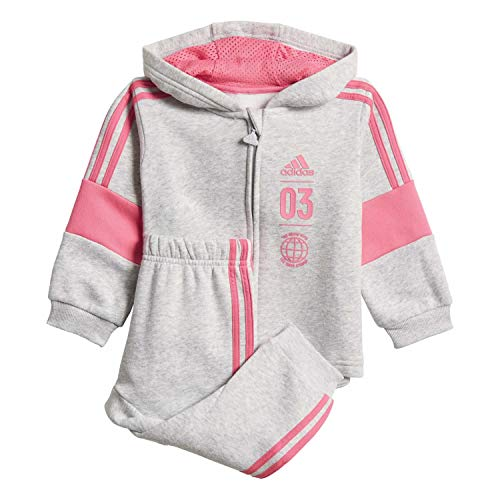 adidas Logo Hooded Jogger XL Mehrfarbig (Light Grey Heather/semi solar pink)