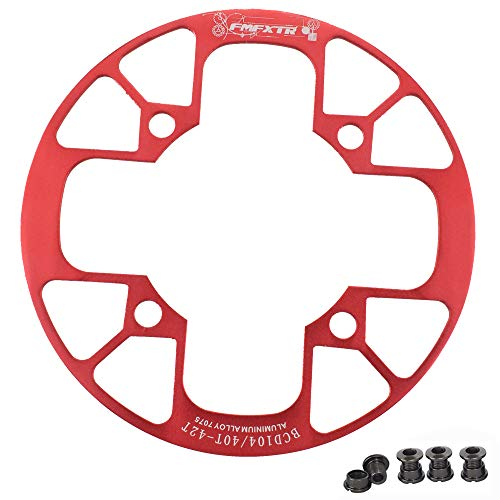 UPANBIKE Montain Bike Chainring Guard 104 BCD Aluminum Alloy Chain Ring Protector Cover for 32~34T 36~38T 40~42T Chainring Sprockets (Red, 40T~42T)
