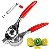 Lemon Lime Squeezer - Manual Citrus Press Juicer - Premium Quality Stainless Steel with Silicone Handles with Lemon Peeler