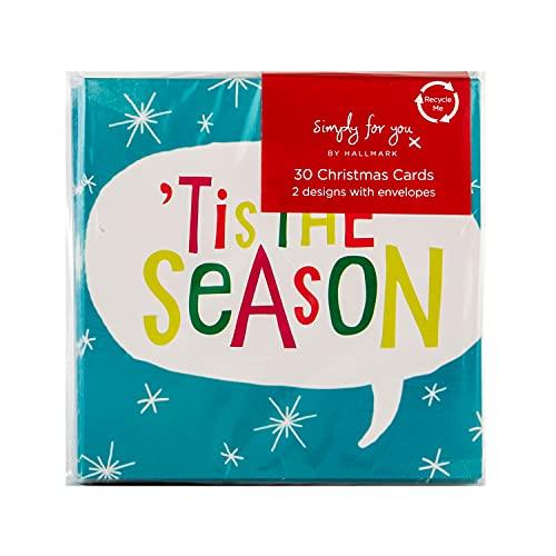 Hallmark 30 tarjetas de Navidad, 2 diseños festivos