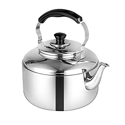 SubClap Whistling Tea Kettle 4L Stainless Steel Polished Teapot with Folding Handle for Stovetop, Tea Pots for Induction Stove Top, Fast to Boil Water for Home, Kitchen, Dorm, Condo, 3.5Quart (Silver)