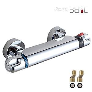 JTWEB Grifo Termostático Ducha de Bañera Barra Válvula Mezcladora Moderno Cromo para Baño 20-50 ℃