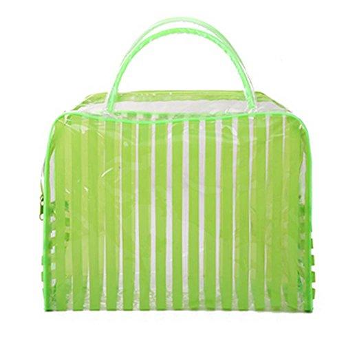 Lot de 4 Stripe PVC vert Sac étanche Wash Cosmetic Pouch