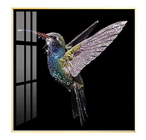 GAO XING SHOP Fotomural Vinilo para Pared, Lujo Ligero Decoración Manual Mosaico Cristal Porcelana Pintura con Colibrí,montado Moderno Sencillez Entrada Imágenes Colgantes para Sala,Cuarto,con Marco