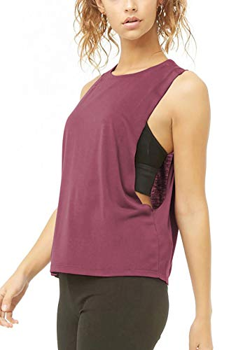 Bestisun Womens Muscle Tank Workout Crop Tops Activewear Yoga Workout Outfits Sport Clothing Running Athletic Yoga Shirts Workout Gym Clothes for Women Magenta L