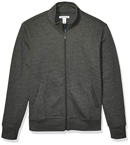 Amazon Essentials Full-Zip Fleece Mock Neck Sweatshirt Fashion-Sweatshirts, Carbón Heather, US L (EU L)