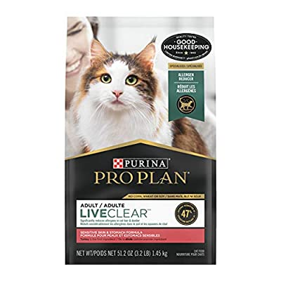 Purina Pro Plan Sensitive Stomach, Sensitive Skin Dry Cat Food, LIVECLEAR Sensitive Skin & Stomach Turkey & Oatmeal - 3.2 lb. Bag