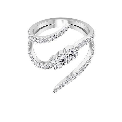 Rosec Jewels - 18 Karat Weißgold Runder Brilliantschliff Markise Leicht Getöntes Weiß/Top Crystal (I) Diamant