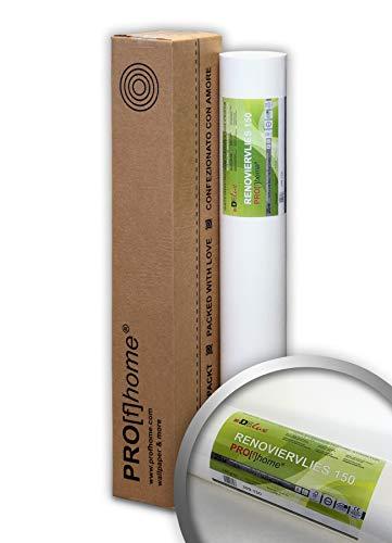 PRO[f]home® - Renoviervlies 150 g Malervlies Anstrich-Vlies glatte überstreichbare Vliestapete weiß 18,75 qm 25 Meter Rolle
