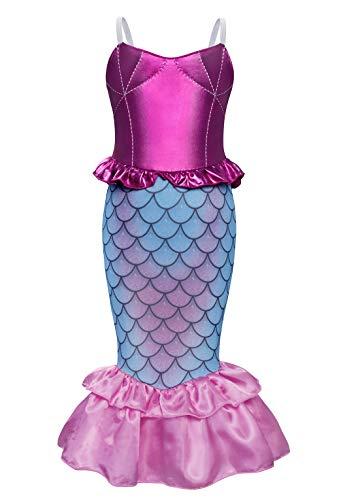AmzBarley Meerjungfrau Kostüm Kleid Kinder Mädchen Kostüme Prinzessin Kleider Karneval Halloween Cosplay Kleidung Geburtstag Party Ankleiden