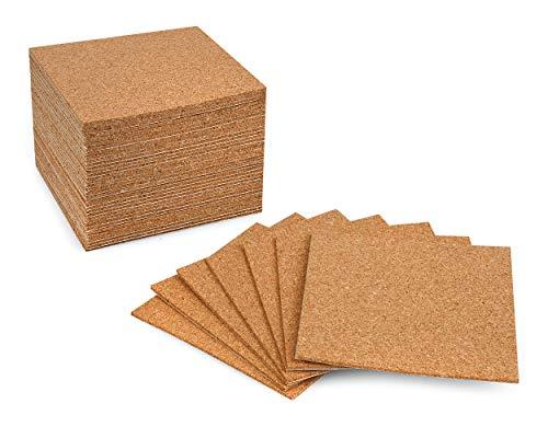 SCSpecial Fogli di Sughero autoadesivi 36 Pezzi 4 Pollici x 4 Pollici Mini Wall Cork Board Tappetini in Sughero per sottobicchieri Fai da Te o Artigianato Fai da Te