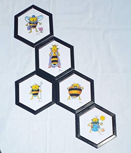 La abeja reina, la recolectora, el zángano, estas láminas hexagonales dibujadas a mano, enmarcadas y a todo color añadirán el toque de vistosidad a la habitación infantil, la cocina, la terraza.