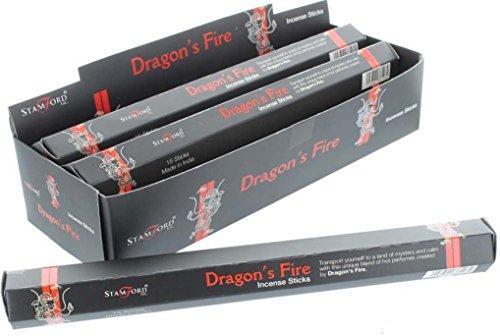 Stamford - Stick di incenso, 6 Confezioni (90 Bastoncini di incenso), Gamma in Nero, Dragons Fire
