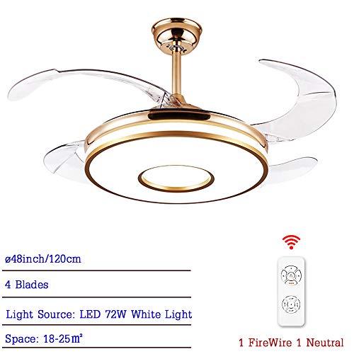 CDDQ Ventilador de Techo con LED Luz,3 Velocidades,4 Aspas,Temporizador,Bajo Consumo,92cm/107cm/120cm,Dorado