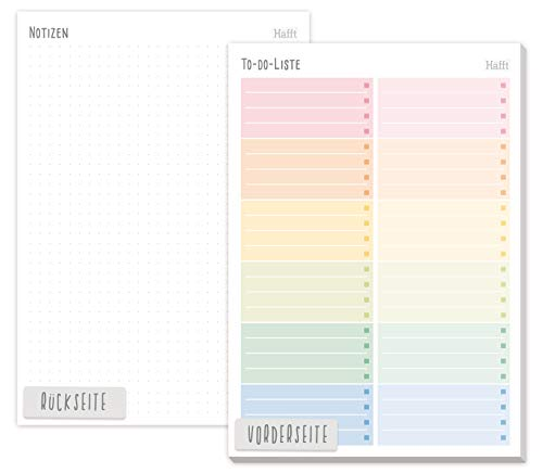 A5 TO-DO Listen Block [Rainbow] von Trendstuff by Häfft | 50 Seiten inkl. Notizblock auf der Rückseite - klimaneutral und nachhaltig!