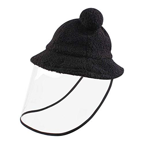 Duoyeree Baby Winter Hat Kids Shield Protective Bucket Hat Removable Clear Covers Hat (Shield Hat, Black, 2T-4T)